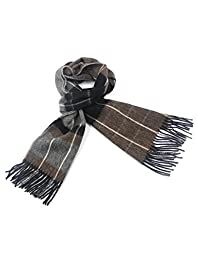 Dahlia Men\'s 100% Luxurious Wool Scarf - Box Awning Stripes - Brown
