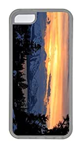 iPhone 5C Case, Customized Protective Soft TPU Clear Case for iphone 5C - Sunset Mountain Cover