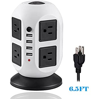 Power Strip Tower ONEreach Surge Protector Electric Charging Station 2500W 10A 16AWG (8 Outlets + 4 USB Ports)