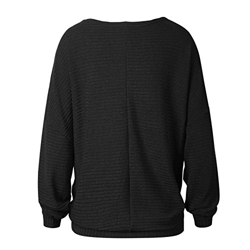 Pull Tops Pull Rond Hiver Longues Loose Pull Tricot Chandail Large Chaud Beau Maille Sweater Col Oversize Jumper Chandails Automne Manches Noir Ample Pull Femme PqHwfEx0Fn
