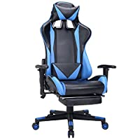 Zenith High Back PU Leather Swivel Gaming Chair with Adjustable Armrest Lumbar Support Headrest Racing Office Chair (Blue Plus)