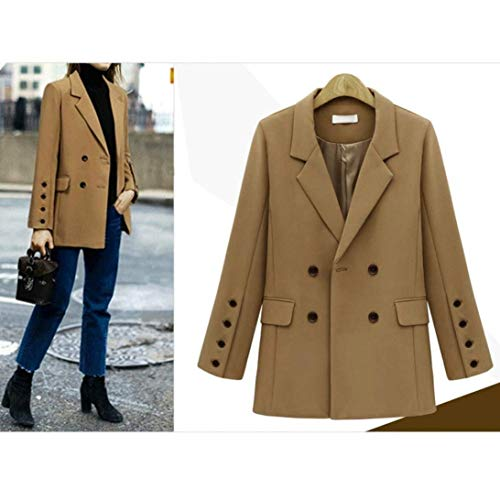 Tasche Vintage Manica Lunga Giacca Con Blazer Coffee Puro Fit Mode Da Colore Giacche Di Double Eleganti Autunno Moda Marca Business Cappotto Tailleur Donna Primaverile Slim Breasted Bavero 1RWT1U7xZ