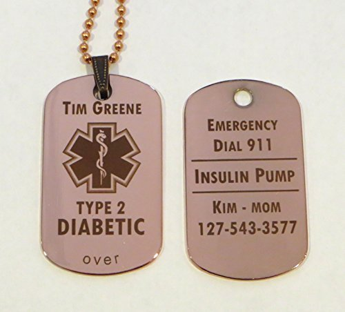 Custom Engraved Copper Medical Alert ID Tag Pendant Necklace - Free Personalization by (Health Engraved Pendant)