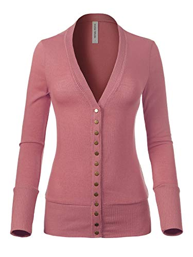 Design by Olivia Women's Soft Basic V-Neck Snap Button Down Knit Cardigan Dusty Rose M ()