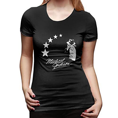 Women's 10 Classic M-J Mic-hael- Jack-Son Printing Soft Sweatshirt Casual Loose Blouse Tops & Short Sleeve T Shirts Black ()