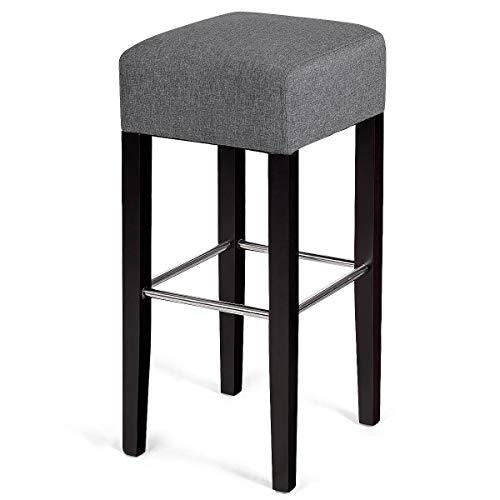 COSTWAY Fabric Bar Stool Modern Contemporary Bar Height Fabric Backless Padded Seat Pub Bistro Kitchen Dining Side Chair Barstools with Solid Wood Legs (Gray)
