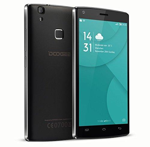 DOOGEE X5 MAX, 4000mAh große Batterie, 8MP + 8MP Dual-Kamera, Fingerabdruck, Android 6.0, 5 Zoll HD LCD, dual SIM, Smartphone ohne Vertrag (Schwarz)