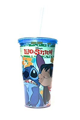 Disney Silver Buffalo LI12087 Disney Lilo and Stitch Kiss Plastic Cold Cup, 16 oz, Multicolor