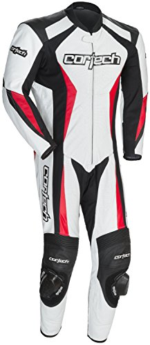 Cortech XF-10-8991-0209-05 Latigo 2.0 Leather RR One-Piece Suit, Distinct Name: White/Black/Red, Gender: Mens/Unisex, Primary Color: White, Size: Md ()