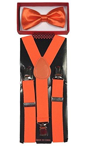 Four-seasonstore New Style Toddler Kids Boys Girls Child Suspender Bow Tie (Neon Orange)]()