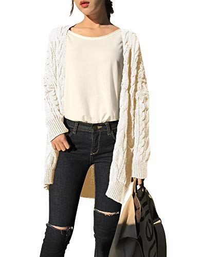 v28 Women Vintage Cable Knitted Button Long Sleeves Coat Sweater Cardigan (Small,Beige)