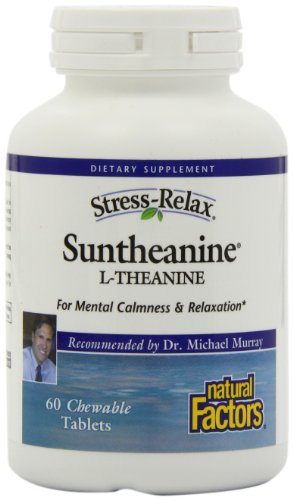 Natural Factors - Stress-Relax Suntheanine L-Theanine 100 mg Chewable, Naturally Supports Mental Calmness, Relaxation, and Alertness, Tropical Flavored, 60 Chewable Tablets
