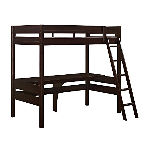 Dorel Living Harlan Loft Bed with Desk, Twin, Espresso (Beds Loft Desk Low With)
