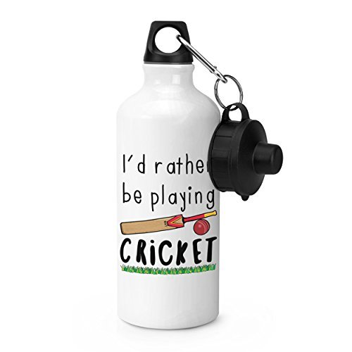 hiusan I'd Rather Be Playing Cricket Sports Water Bottle White Novelty Aluminum Water Bottle for School Gym Camping by hiusan