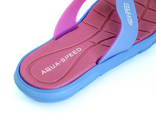 Aqua-speed® BALI sandalias (mujeres chanclas antideslizante-patrón piscina Garden Beach Holiday - lobectomía® + up) Pink / Blau