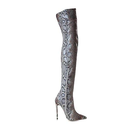 Plus 42 Genou Taille de Stylet EUR36UK354 GRAY Sexy Cuisse Femmes Talon Grand 35 Taille Le Serpentin Haute NVXIE Pointu Le Bottes 5wUfqc4