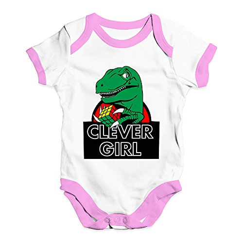 Artist Baby Onesie - TWISTED ENVY Funny Infant Baby Bodysuit Onesies Clever Girl Dinosaur Baby Unisex Baby Grow Bodysuit 6-12 Months White Pink Trim