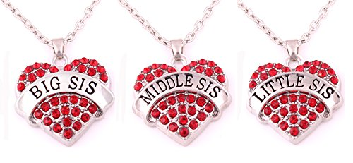 Large Product Image of Charm.L Grace Crystal Heart Necklaces Set Mom Big Sis Middle Lil Sister