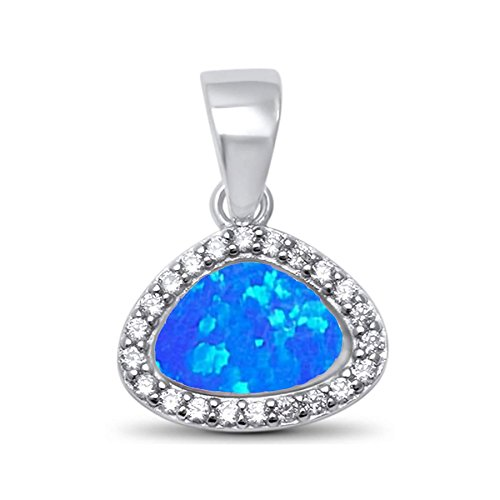 - 13mm Created Opal Inlay Triangle Shape Halo CZ Design 925 Solid Sterling Silver Small Pendant -BO