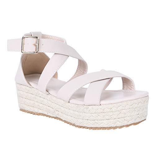 6781d71b3f562 Syktkmx Womens Flatform Espadrille Strappy Open Toe Flat Platform Ankle  Sandals