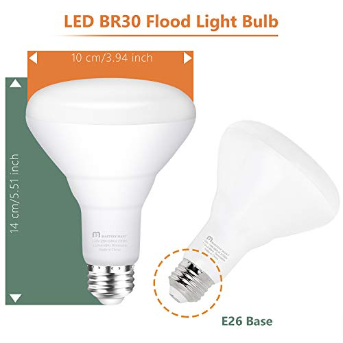 Mastery Mart BR30 LED Bulb, 10W Dimmable, 65 Watt Equivalent 2700K Soft White 700 Lumen, Wide Flood Light Bulb with E26 Screw Base, UL and Energy Star, Pack of 10