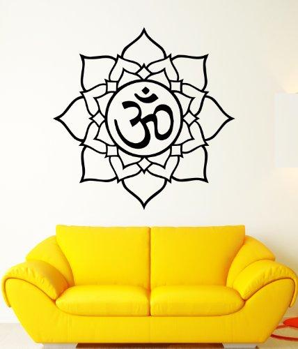 Yoga Lotus Symbol Om Aum India Spiritual Mystical Sanskrit Sound Decor Wall Mural Vinyl Art Sticker M534