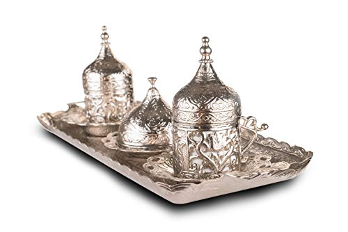 MisterCopper New Premium Turkish Greek Arabic Coffee Espresso Serving Set for 2,Cups Saucers Lids Tray Delight Sugar Dish 11pc (silver 2nd) (Arabic Dishes Set)