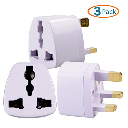 HTTX Grounded Universal Electrical AC Wall Plug Adapter Type G Power Converter Travel Charger for UK, Hong Kong, Singapore 3-Pack