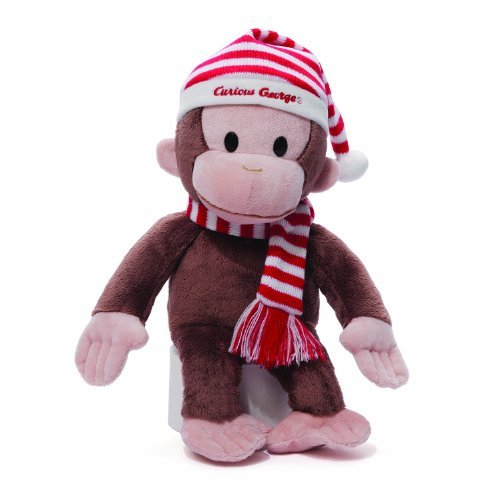 GUND Curious George Plush in Christmas Red and White Striped Hat, 14