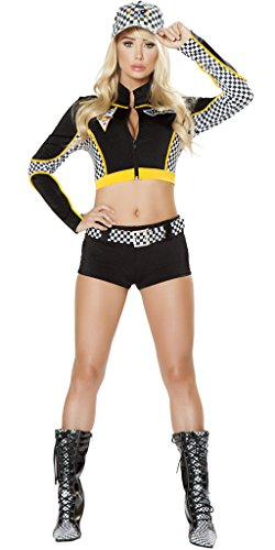 Sexy Speed Racer Girl Halloween Costume - Black/Yellow/White - (Racing Girl Halloween Costume)