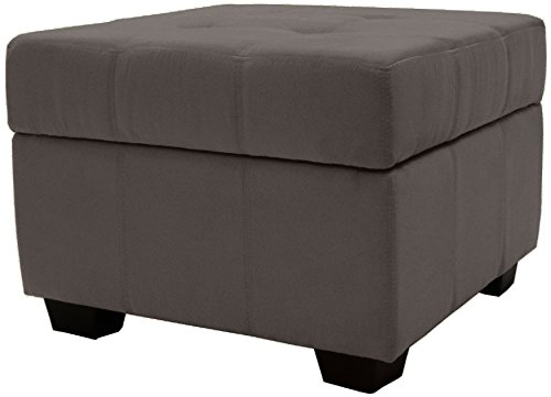 Traditional Upholstered Ottoman - Epic Furnishings Microfiber Suede Upholstered Tufted Padded Hinged Square Storage Ottoman Bench, 24