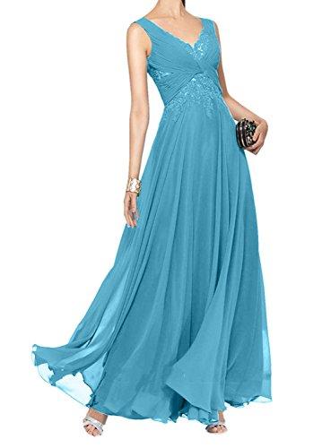 Ballkleider A Gruen Brautmutterkleider Damen Linie Blau Abendkleider Ausschnitt Lang Hell Rock V Charmant zwgq4YRR