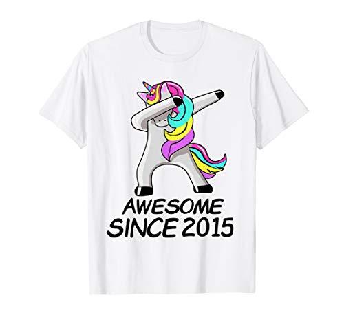 4th Birthday Shirt Awesome Since 2015 Cute Unicorn Dabbing