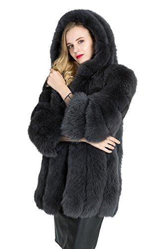 TOPFUR Womens Fluffy Warm Real Midi Fox Fur Coat Jacket with Big Hood by TOPFUR
