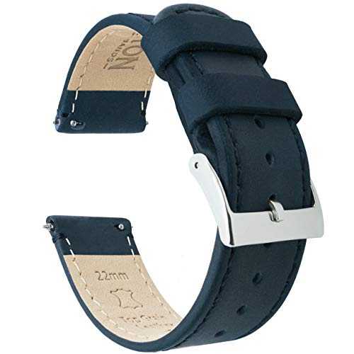19mm Navy Blue - Barton Quick Release - Top Grain Leather Watch Band Strap