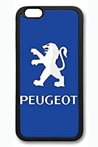 iPhone 6 Case - Perfect Fit Soft Rubber Black Back Cover with Peugeot Car Logo 1 Pattern for iPhone 6 Scratch-Resistant Protective Soft Case for iPhone 6 4.7 Inches