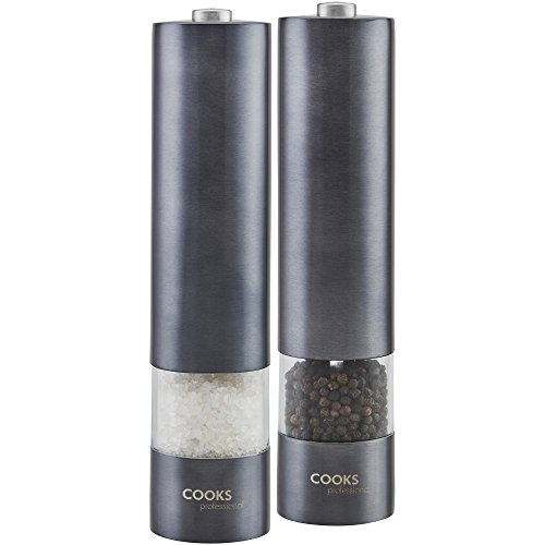 Cooks Professional Automatic Salt & Pepper Mill Set with Adjustable...