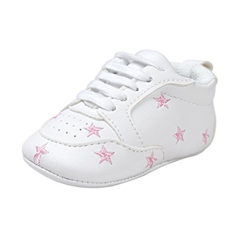 Pink First Walkers (for 0-18 Months Baby, Baby Boy Girl Shoes First Walkers Shoes Soft Soles Crib Shoes Sneakers by Williant (Pink Star, 0-6 months))