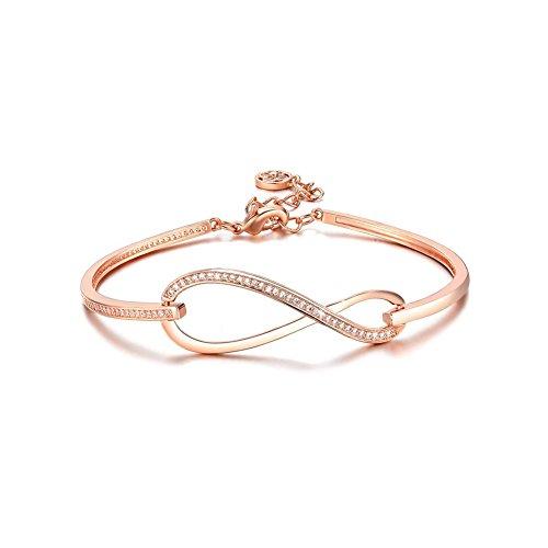 SPILOVE CZ Crystal 18k Gold Plated Infinity Bangle Endless Love Charm Adjustable Bracelets, Gifts for Graduation