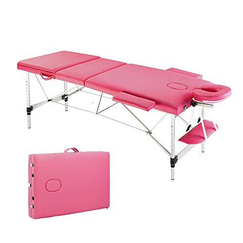 YYAO Massage Table 73 Inch Aluminum alloy Portable Height Adjustable 3 Fold Professional Massage Bed W/Carry Case Spa Bed Beauty Salon Bed