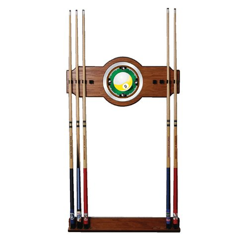 Image of Ball Racks Trademark Nine Ball Two-Piece Wood and Mirror Wall Cue Rack