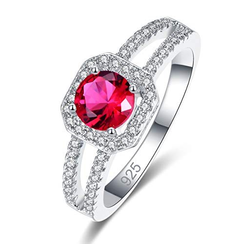 Narica Women's 925 Sterling Silver Filled Round Cut Ruby Spinel Promise Proposal Engagement Wedding Rings Size 7 ()