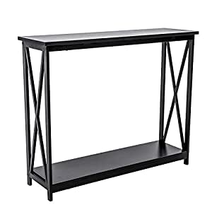 HOFOME Sofa Side Table, 2 Tier Console Table X-Design Entryway Hall Table  with Storage, Long Narrow Accent Table for Living Room, Black