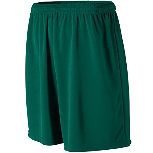 Augusta Activewear Youth Wicking Mesh Athletic Short, Dark Green, Large
