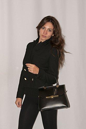 Woman 100 Black Handbag Italy Genuine Borderline Leather eleonora In Made 0ZnqT