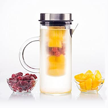 bobuCuisine's Juice Boost Fruit Infusion Pitcher – Glass Water Pitcher for Lemon Fruits Herbs Ice Tea -Drink Delicious Water Borosilicate Glass –Stylish Design Stainless Steel Lid – Complete Blended Drink, 1000ml, 33 Oz