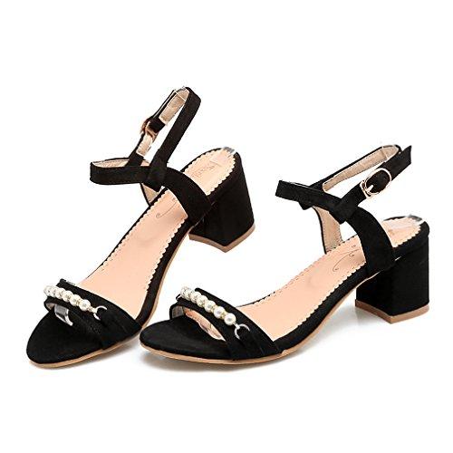 YE Damen Chunky Heels Sandalen Knöchelriemchen High Heels mit Schnalle und Perlen Blockabsatz 6cm Asbsatz Schuhe Schwarz