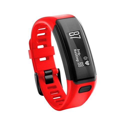Elegance Stainless Steel Analog (Wrist Band , Auwer Soft Silicone New Replacement Bracelet Strap Wrist Band For Garmin Vivosmart HR (red))