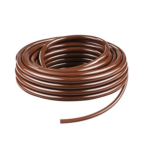 KORAM Drip Irrigation 1/4 Blank Distribution Tubing Drip Watering Hose 50ft Roll with Plant Tag, Brown - Hose 50' Roll