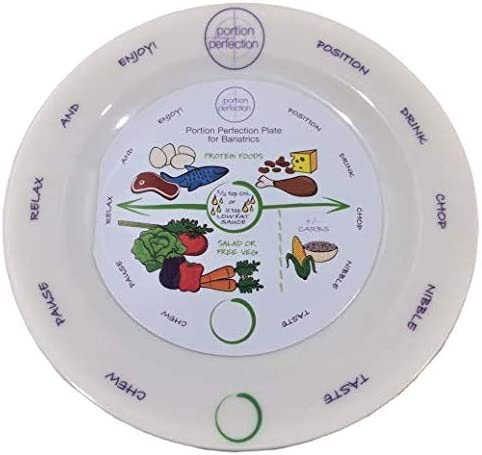 Bariatric Melamine Portion Control Plate 8 For Weight Loss After Surgery. Health Eating Educational Visual Tool For Gastric Sleeve, Bypass Or Band With Protein, Carbs And Vegetables
